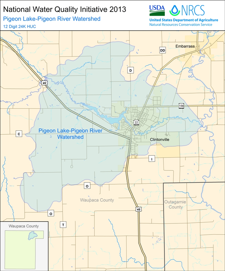 National Water Quality Initiative Watersheds Selected For - Map of wisconsin lakes and rivers