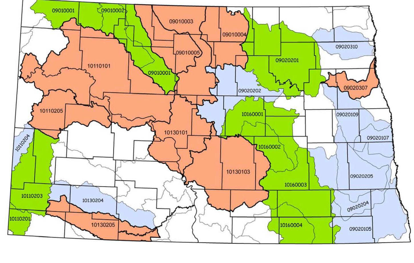 Picture of ND Map of Watersheds