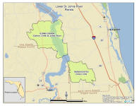 map of Lower St Johns River watershed
