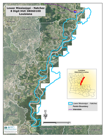 Lower Mississippi-Natchez Watershed Map (PDF; 3.8 MB)