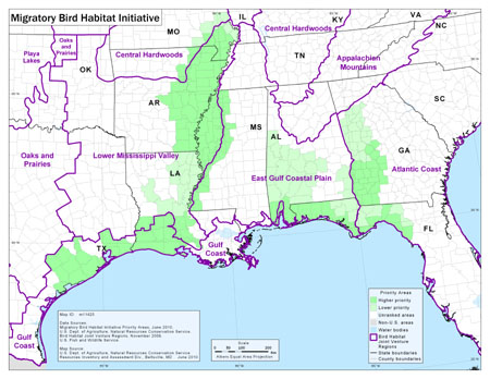 Map of Priority Areas for the Migratory Bird Habitat Initiative