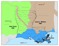Map of Louisiana Parishes Served by Plant Materials Center