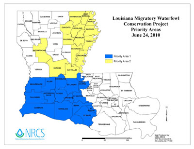 Map of Louisiana Migratory Waterfowl Priority Areas