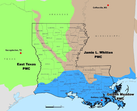Map of Plant Materials Centers Serving Louisiana