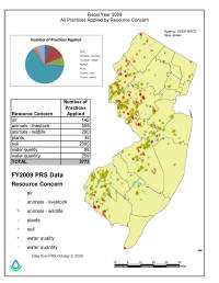 map of New Jersey showing conservation practices applied by resource concern