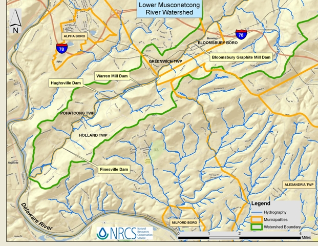 map of Lower Musconetcong Watershed