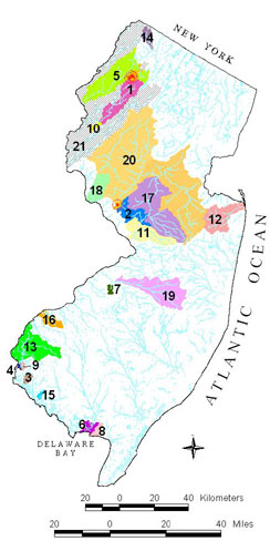 New Jersey Map showing Watershed Projects