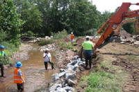 Construction at Walnut Brook restoration site