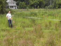 Liz O'Rourke assists with field survey