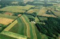 aerial view of farm showing conservation practices