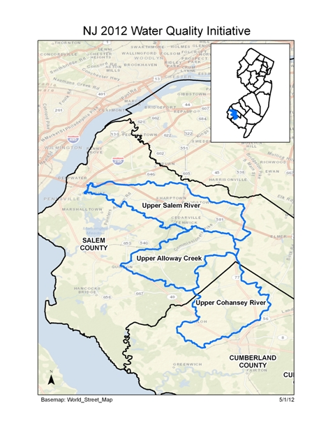 Map of 2010 Water Quality Initiative in New Jersey