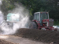 turning mulch row at AgChoice