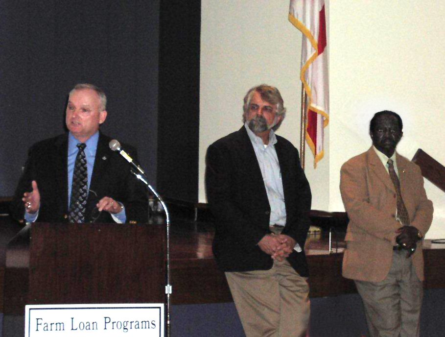 USDA Agency Leaders spoke at the meeting (l-r) Dr. William Puckett (NRCS), Ronnie Davis (RD),  and Daniel Robinson (FSA).