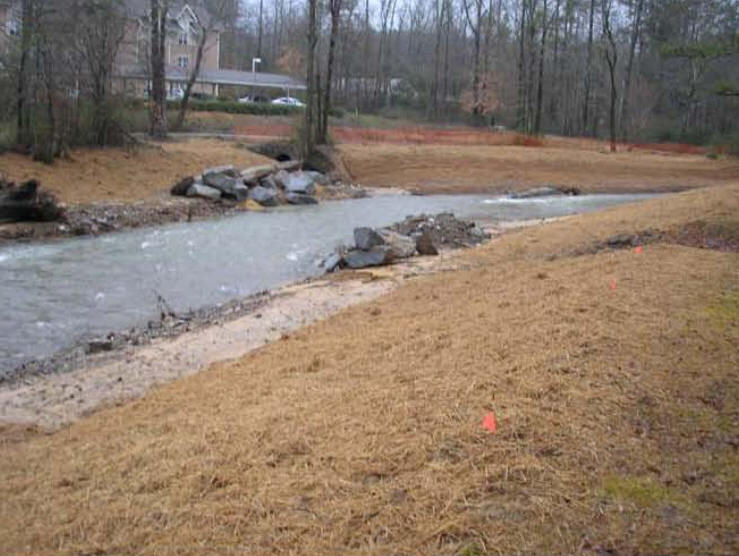 Work is progressing on Little Shades Creek, February 10.