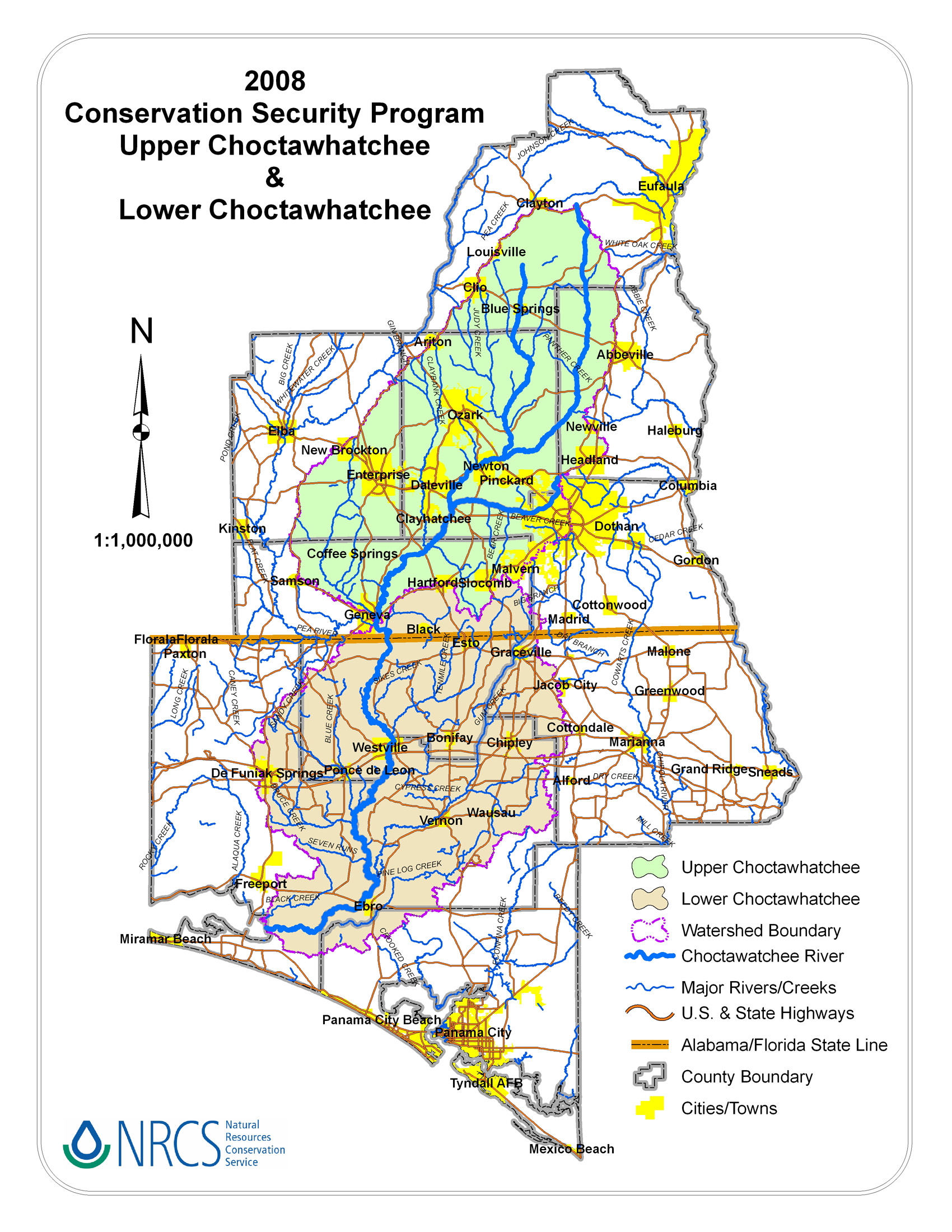 Upper Choctawhatchee River Watershed CSP NRCS Alabama - Detailed map of alabama