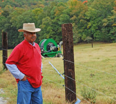 Thornton Stanley uses this traveling gun system to irrigate his pastures.