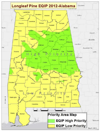 Map of EQIP 2012 Long Leaf Pine Priority areas