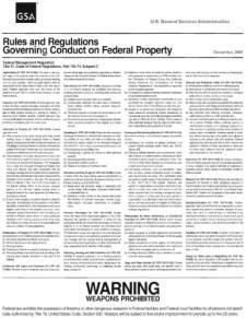Rules and Regulations Governing Conduct on Federal Property-Weapons