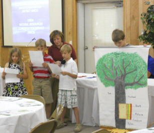 Students explain parts of a tree.