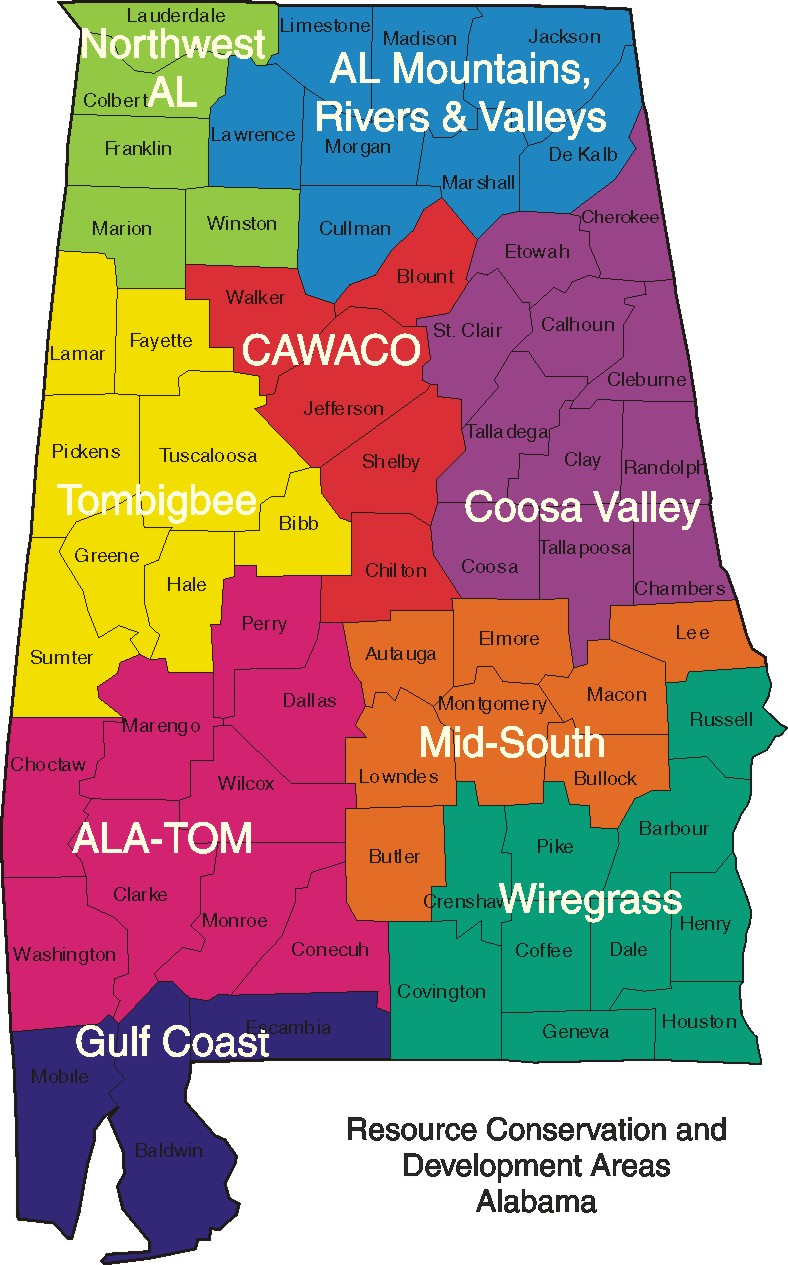 Alabama map divided into RC&D areas