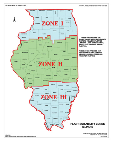 Map of Illinois Plant Suitablility Zones
