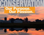 Conservation...Our Purpose. Our Passion. Image of Farm at Sunset.