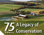 75th Anniversary photo of farm with conservation practices
