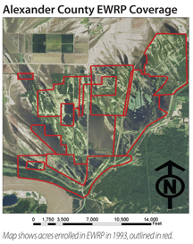 Alexander EWRP aerial map with red lines outlining acres enrolled in EWRP in 1993.