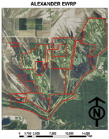 Map of easements in Alexander County