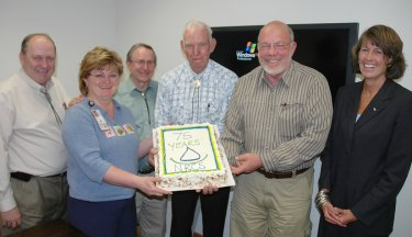 NRCS 75th Anniversary birthday cake is displayed at a meeting of the Utah Partners for Conservation and Development on the April 27th anniversary date