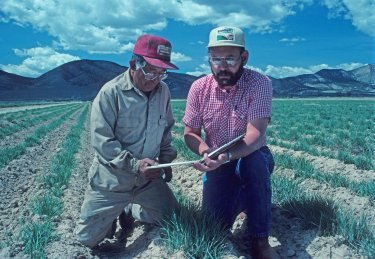 Conservation plans are reviewed by SCS Agronomist Larry Young (right) on a farm in Sanpete County.