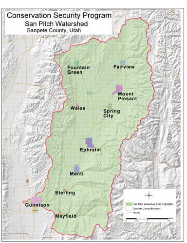 Sanpete County Utah Map.San Pitch Watershed Nrcs Utah