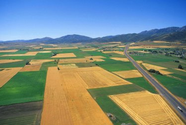 Cache Valley farmland from the air shows a patchwork of good conservation.