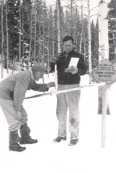 Snow Survey measurements are taken at the Kings Cabin course by SCS employees Grant Parrish and Roman Pfieffer