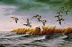 Painting of ducks flying over a marsh