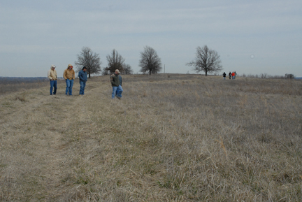 NRCS and Oklahoma Conservation Commission employees evaluating fuel loads and identifying concerns to plan a prescribed burn.