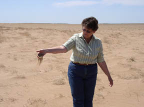 Dry, sandy soil is quickly blown out of the hand of Cimarron County District Conservationist Cherrie Brown. She stands in a field that has intense wind erosion in a wheat field that had no residue to hold the soil in place.