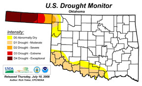 This national drought monitor map was published on July 10. The D4 drought category, which consumes Texas and Cimarron Counties, is defined to indicate a 1 in 50 year occurrence.