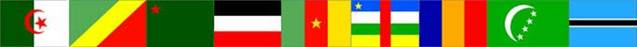 Flags from: Algeria, Congo, Benin, Burkina Faso, Cameroon, Central Africa, Chad, Comoros, Botswana