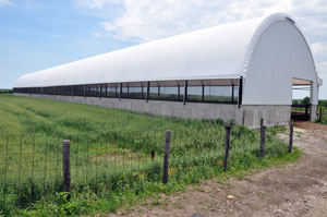 The Ides chose two long and narrow, 42� x 300�, hoop buildings to be constructed on a portion of their old feedlot.