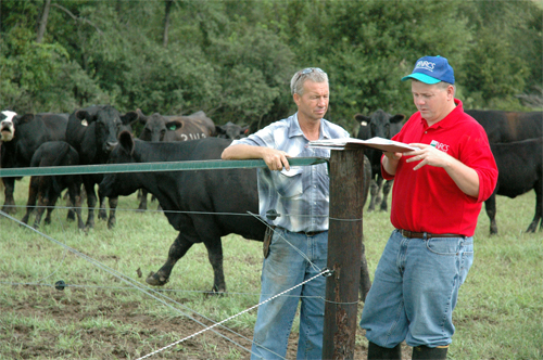 NRCS District Conservationist Drew DeLang and farmer Roger Edwards of Columbus Junction check grazing paddocks and watering ponds built with EQIP cost share. The paddocks and ponds help Edwards� cattle operation increase grazing efficiency, lower feed costs and reduce erosion.