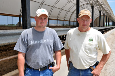 The father-son tandem of Chad and Monty Ide transitioned their old open feedlot to two new environmentally-friendly hoop buildings.