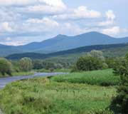 Production field along river with Jay Peak in the distance
