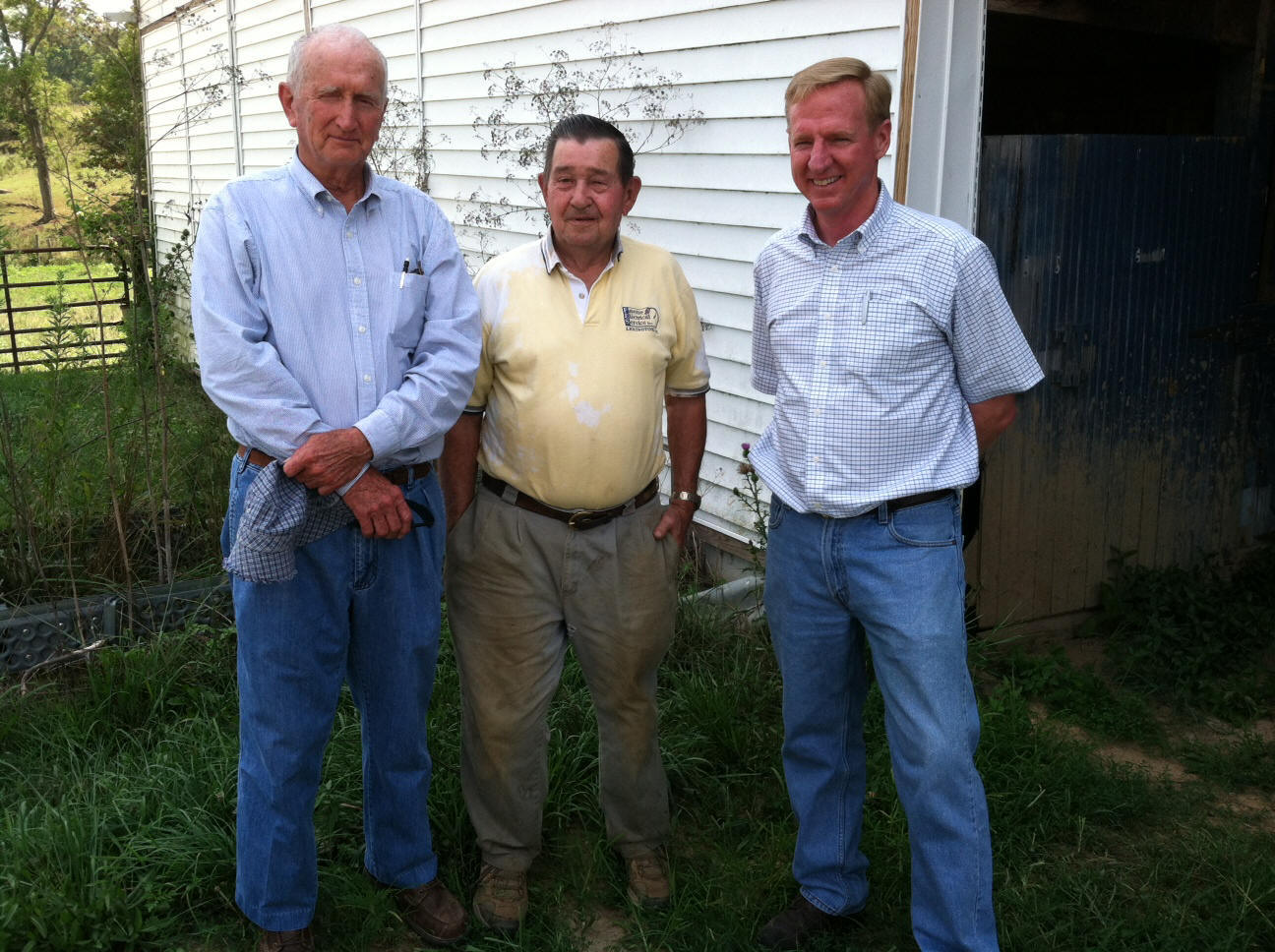 Geologist Paul Howell, Landowner Joe Kiser, and District Conservationist Charles Farmer