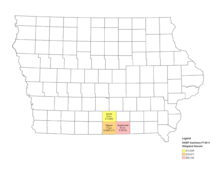 Agricultural Water Enhancement Program Acres and Funding Map