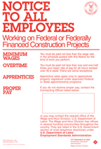 Notice to All Employees Working on Federal or Federally Funded Financed Construction Projects poster.  PDF download.