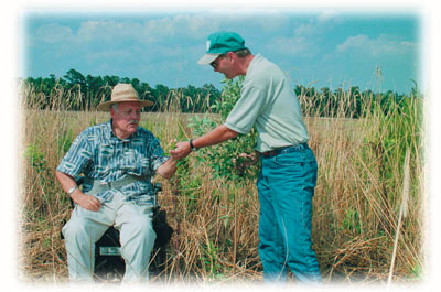 Bill East of Wadmalaw Island in Charleston County has worked to produce lespedeza in his field borders under CRP.