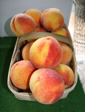 The Belue's sell fresh produce at their roadside store, including these beautiful, ripe peaches.