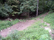 Streambank erosion before fence and crossing.