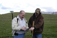 Brian Carpenter, FSA, and Brian Hall, Shenandoah Valley SWCD, confer on a site viist.